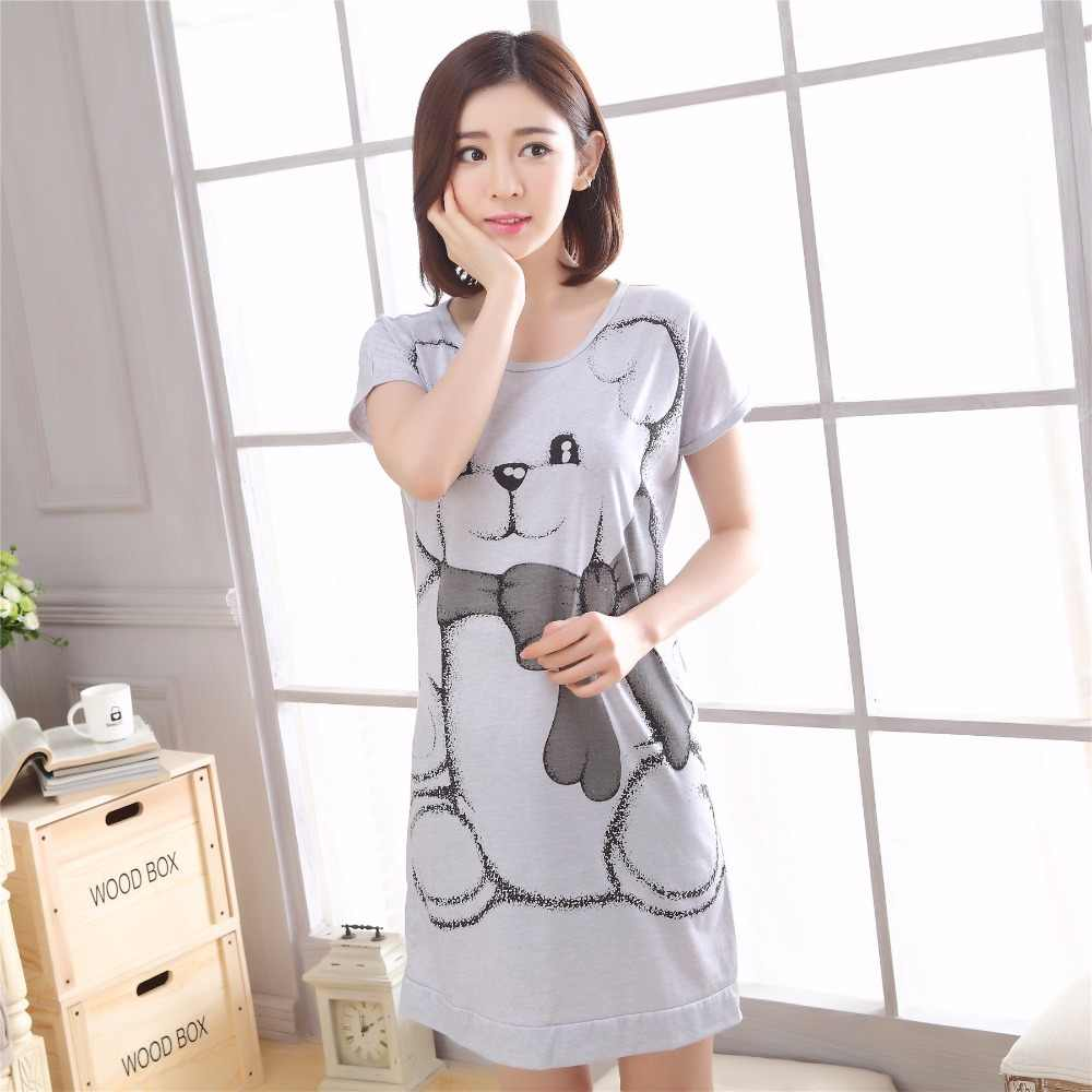 a0462ab121 2017 Summer Brand Homewear Women Casual Cotton nightgown Cat print  nightdress Female Short sleeve O-