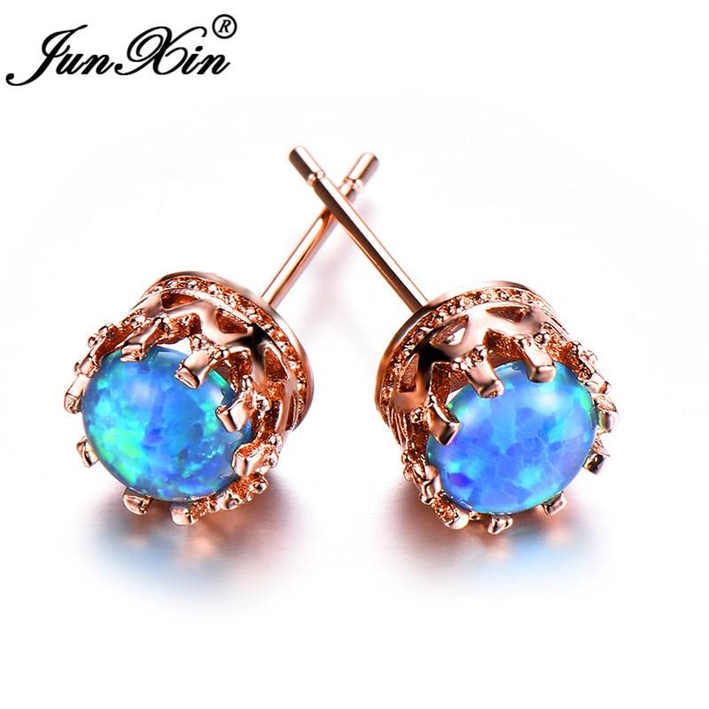 JUNXIN Blue White Fire Opal Earrings Small Round Crown Stud Earrings For Women White Gold/Rose Gold Filled Rainbow Earring Studs