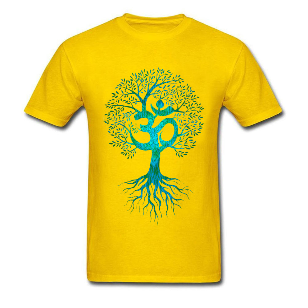 Mens Tshirts Om Tree Of Life Europe Tops & Tees Cotton Fabric O-Neck Short Sleeve Slim Fit Tops Shirt Labor Day Om Tree Of Life yellow
