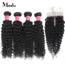 Meetu Hair Malaysian Curly Bundles with Closure 4 Bundles with Closure Baby Hair 100% Human Hair Bundles with Closure Non Remy
