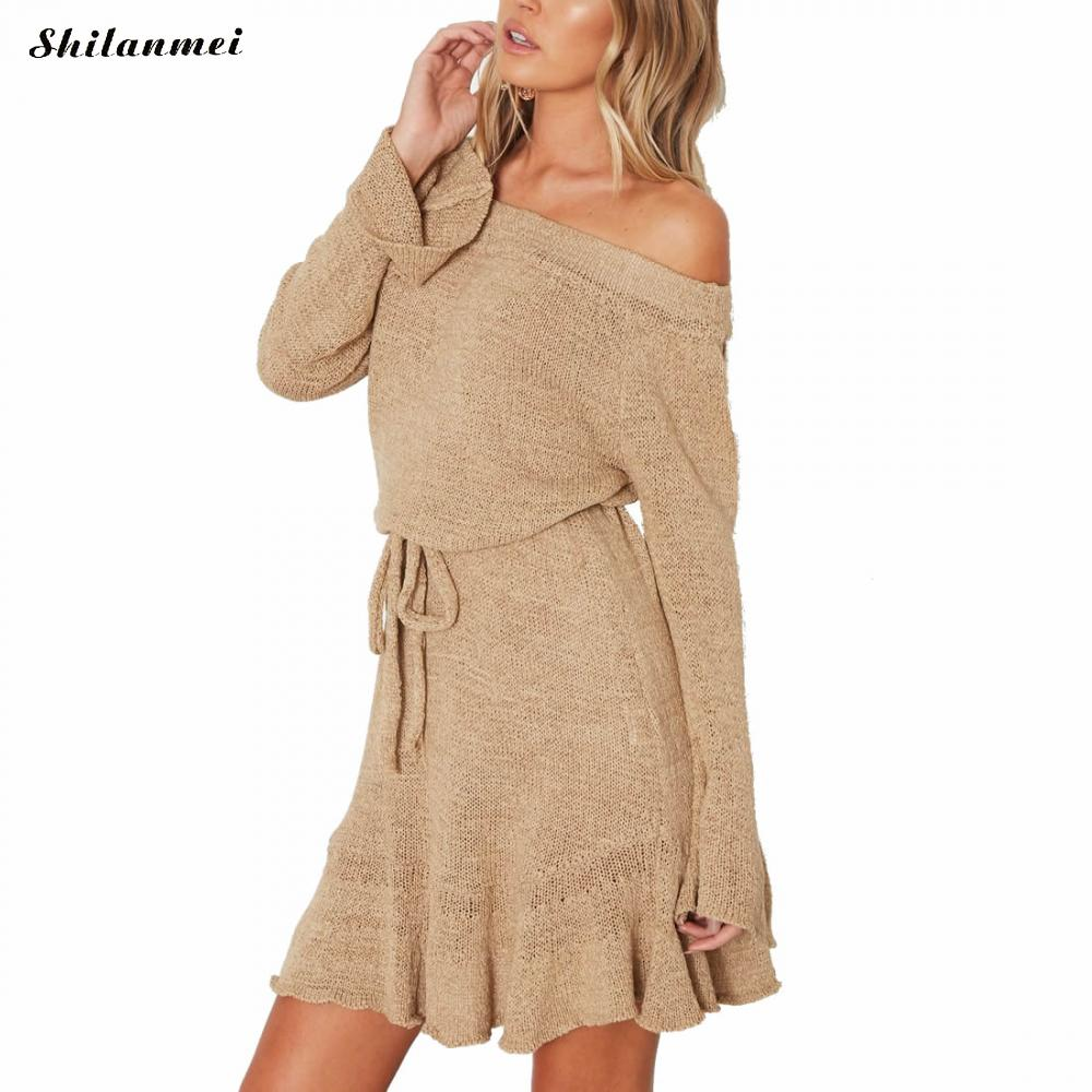 Sexy off shoulder bodycon dress women Elegant ruffle long sleeve short dress autumn Knitted sweater winter mini dress vestidos