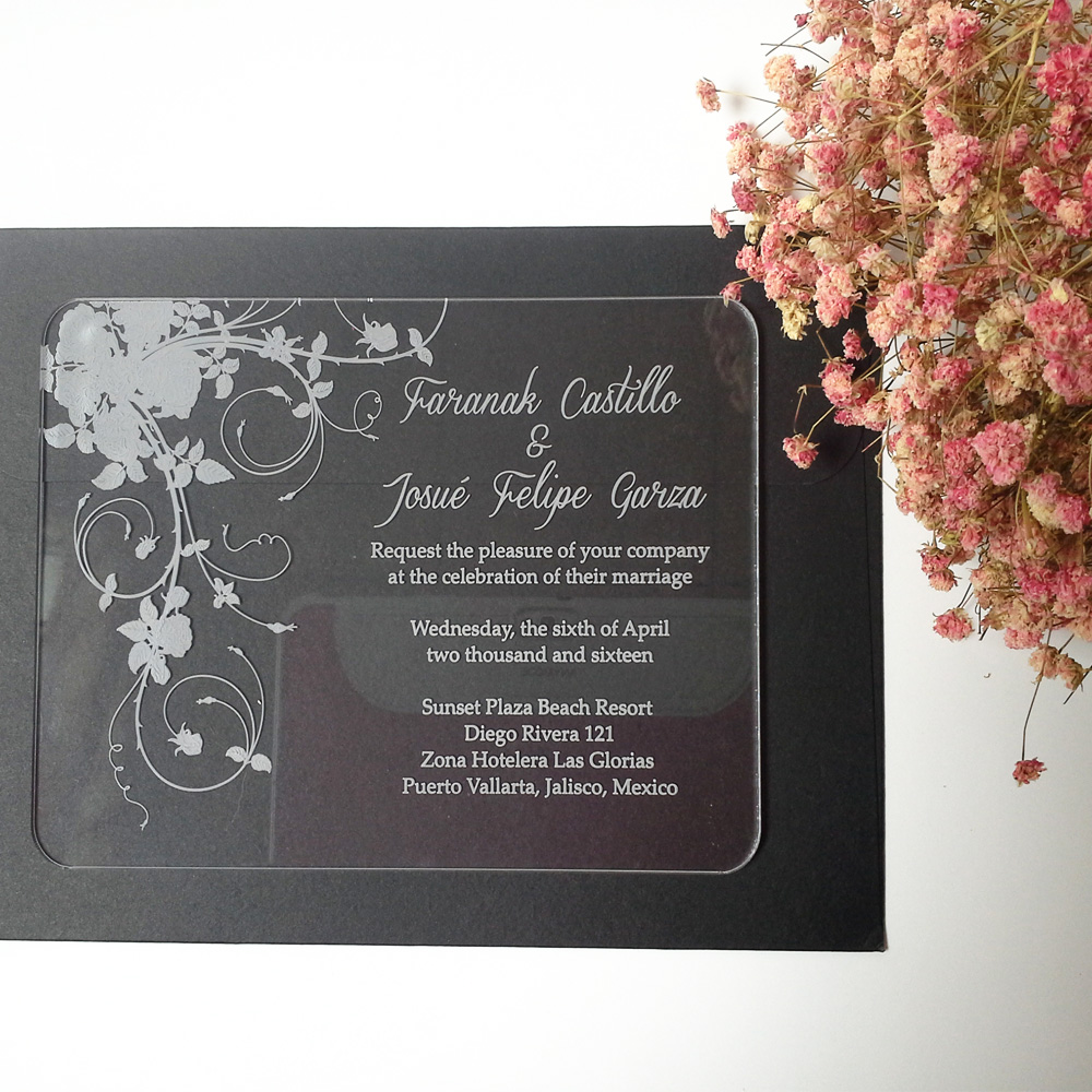 Customized clear acrylic wedding invitation card with beautiful rose - Festive and Party Supplies