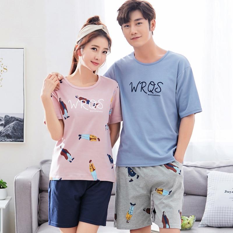 Pajamas For Couples Cotton Loose Lounge Wear For Men Letter Pajama For Men Sleepwear Suit Homewear Big Size XXXL Sleep Short