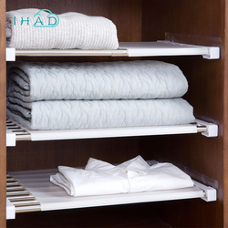 Wardrobe Retractable Storage Rack Cabinets Layered partition storage Frame Kitchen bedroom paste type telescopic organizer Shelf