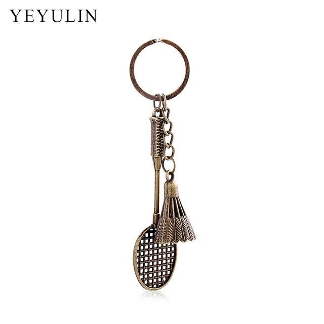 New Arrival Silver Bronze Color Alloy Cool Keychains Creative 3D Model  Badminton Keyring For Women Men 3fe9a242d