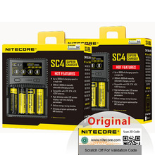 NITECORE cargador inteligente SC4 Original, carga más rápida, 4 ranuras, salida Total 6A para batería IMR 18650 14450 16340 AA