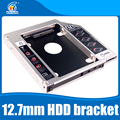 "Universal 2nd 12.7mm Aluminum HDD Caddy SATA 3.0 for 2.5"" SSD Case HDD Enclosure for Notebook CD-Rom hard drive bracket"