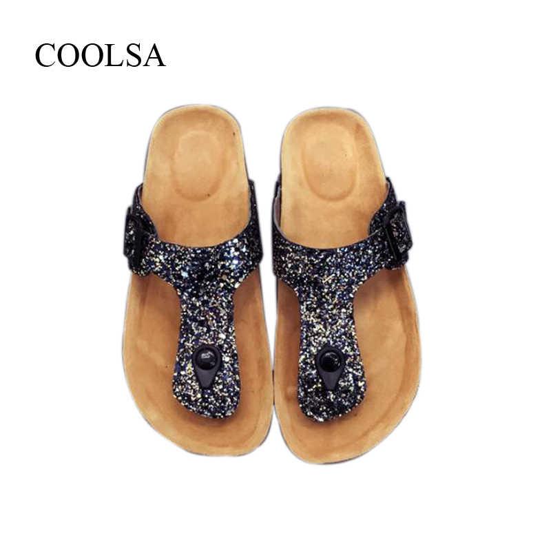 COOLSA/женские летние плоские блестки, блестящие Тапочки женские шлепанцы на плоской подошве, пляжные вьетнамки, уличные Нескользящие пробковые сандалии для девочек