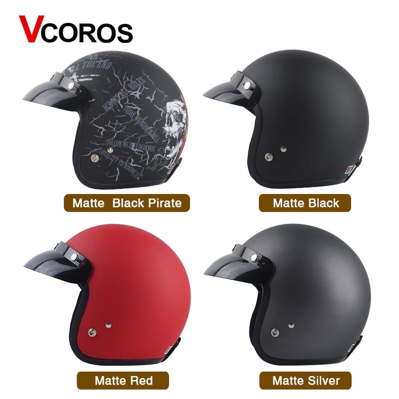 Matte Vintage Retro Motorcycle Helmet 3//4 Open Face With Visor Detachable