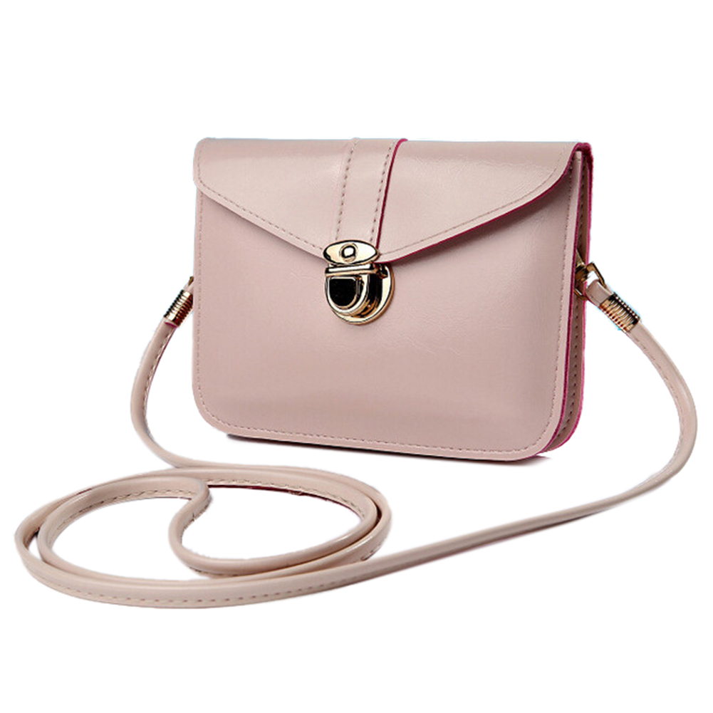 FGGS Women messenger bags Vintage style PU leather handbag Sweet cute Cross body handbags Clutch messenger bags(Beige)