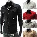 Homens da moda Camisa de Manga Longa mens Slim Fit Roupas de marca homens Camisa de cor Sólida homens Casual vestido de negócios Sociais 5017