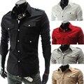 Los Hombres de moda de Manga Larga Camisa para hombre del Ajustado de la Ropa hombres de la marca de color Sólido de Los Hombres Ocasionales Camisa de vestir de negocios Sociales 5017