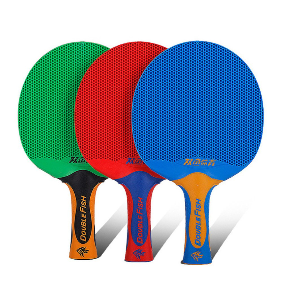 1pc Double Fish Long Handle Ping Pong Racket Double Face Table Tennis Racket Paddle Plastic Rubber Table Tennis Bat Paddle