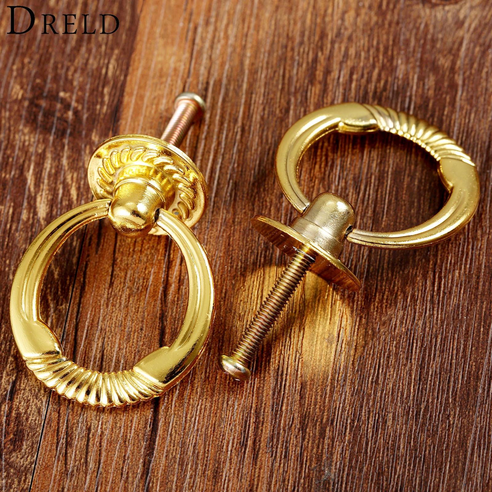 Dreld 2pcs Antique Gold Cabinet Knob And Handle Vintage