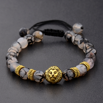 Amader Lion Gold & Silver Natural Stone Beaded Bracelets 1