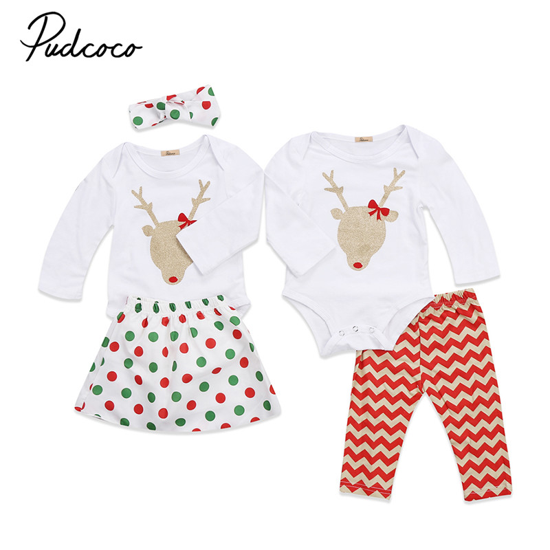 2017 New Style Xmas Newborn Baby Girls Clothes Christmas Long Sleeve Romper Pants/Dress +Headband 2pcs Outfits Baby Clothing Set