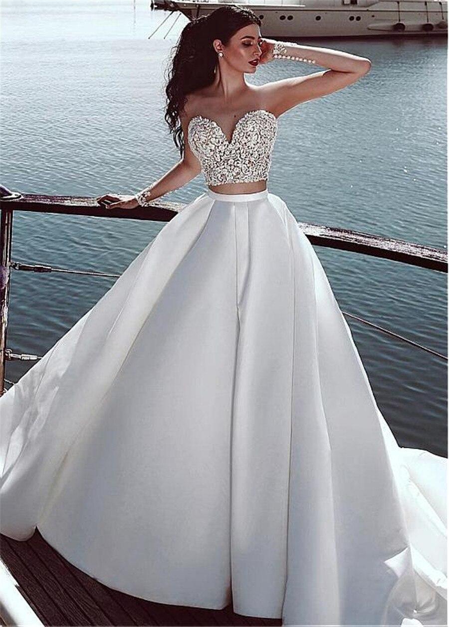 Satin Sheer Jewel Neckline Two-piece A-line Wedding Dress With Beaded Lace Appliques Beach Bridal Dress Vestido De Novia