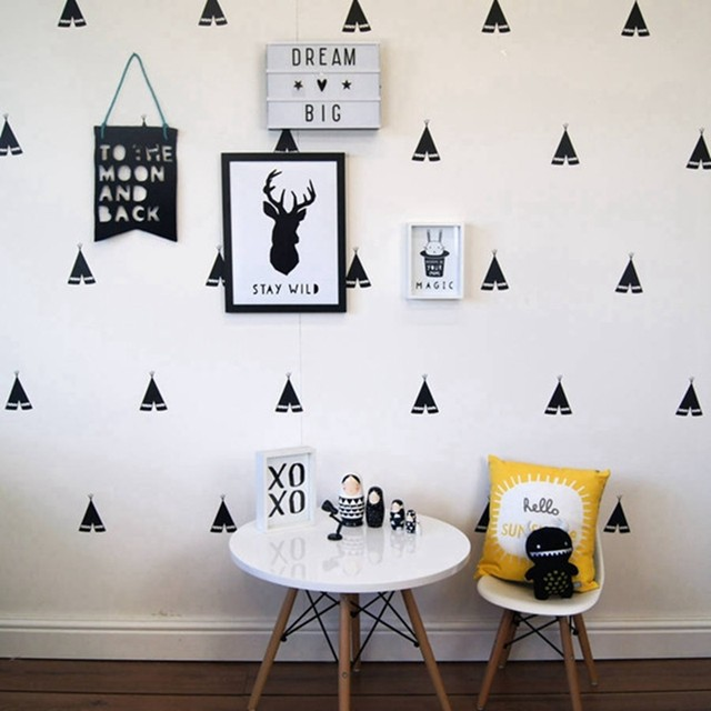 Little Teepee Wall Stickers Nordic Style Vinyl Wall Decals, Removable Child  Room Decoration Art Modern Wall Decors