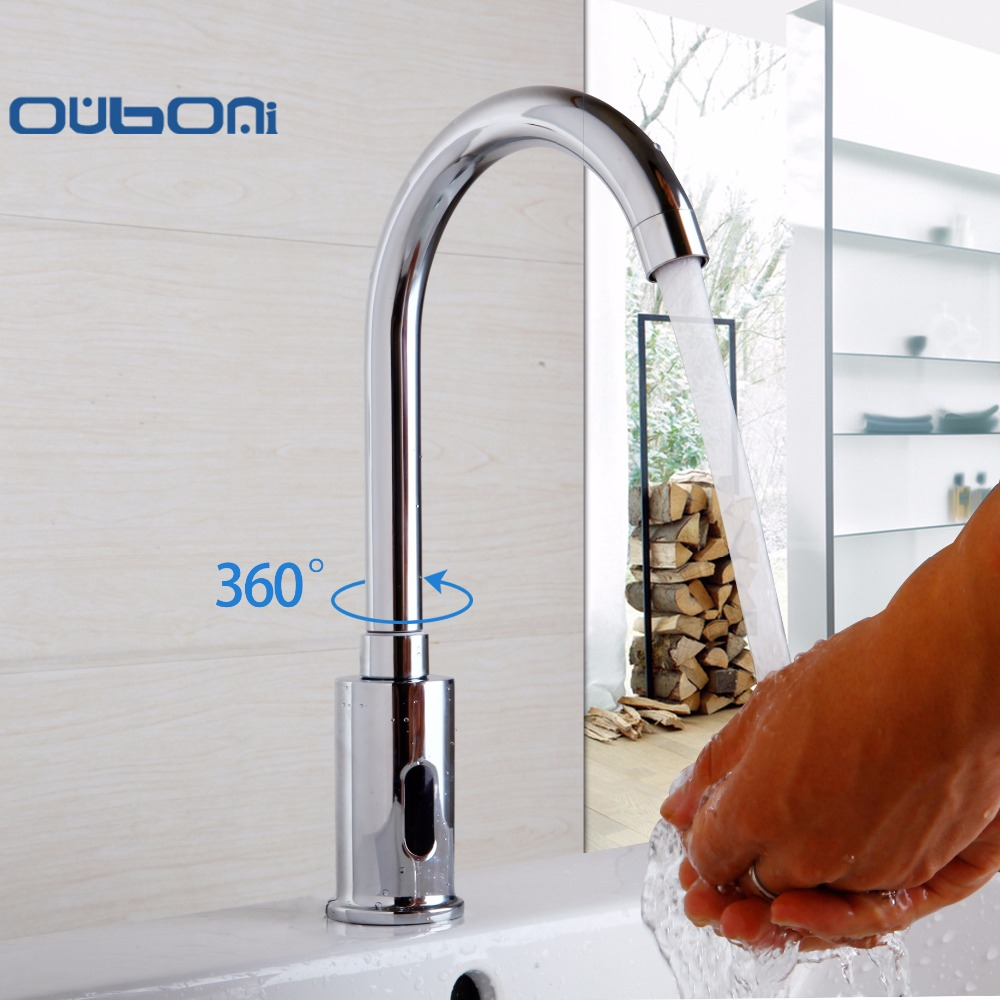 Hot and cold water faucet for outdoor sink - Ouboni 360 Swivel Bathroom Basin Sink Faucet Hot Cold Water Mixer Tap Touch Free