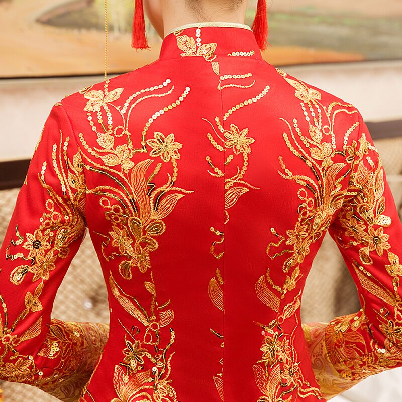 New Red traditional chinese wedding dress Qipao National Costume Womens Overseas Chinese Style Bride Embroidery Cheongsam S-XXL 9