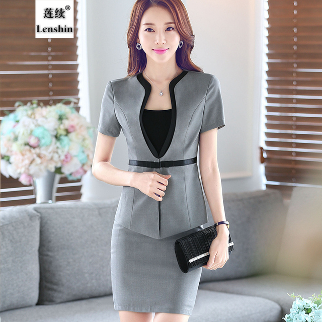 59573b21d6b81 2 Pieces suit Female skirt suits career OL blazer and skirt women office  coat Jackets uniform