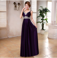 2016 Dark Purple Beaded Evening Dress Long Party Gowns V Neck Rhinestone Robe De Soiree Satin
