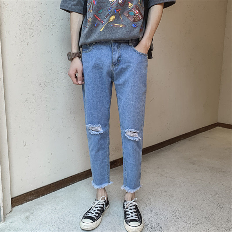 Denim Student Jeans Man Loose Fabric Summer Straight Ankle Length Zipper Fly Pants Rock Button Casual Trousers Streetwear