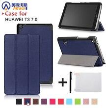 Ultra delgada magnética de LA PU caso de la cubierta de cuero para Huawei MediaPad T3 7.0 BG2-W09 tablet para Honor Juego Pad 2 7.0 + free regalo