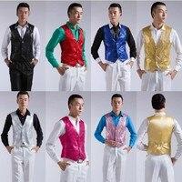 Glitter Mens Sequins Bling Vest Slim Fit Jacket Clubwear Party Bar Dress Waist Coat Suit Outwear custom made Big Size