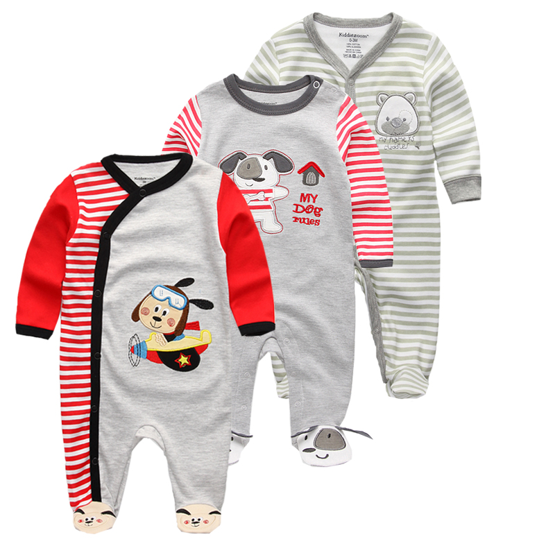 2019 Newborn Unisex Cartoon Romper 3pcs Baby Long Sleeve Clothes Set O-neck Cotton Style Boys & Girls Overalls Pajamas