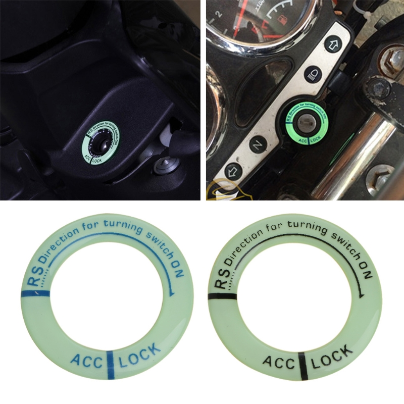 Car Glow Key Ring Hole Sticker Lumunous Ignition Switch Cover Motorcycle Decal