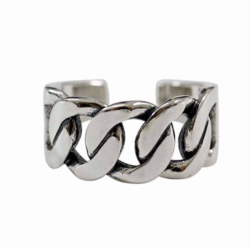 Bijoux Vintage Silver Color Chain Rings For Girl Ladies Adjustable Size Statement Ring Wedding Party Jewelry Anillos 3