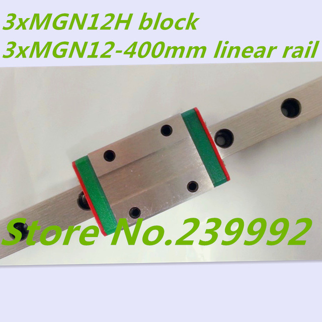 Kossel Mini MGN12 400mm 12mm miniature linear rail slide = 3pcs 12mm L-400mm rail+3pcs MGN12H carriage for X Y Z axis