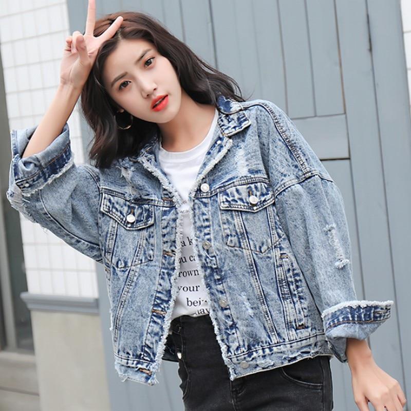 New 2019 Spring Autumn Korean Style Loose Brushed Hole Women Denim Jacket Streetwear Boyfriend Plus Size Female Student Coat in Jackets from Women 39 s Clothing