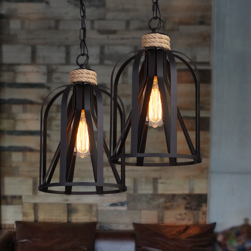 Retro indoor lighting Vintage pendant light LED lights iron cage lampshade light fixture Metal Hanging Lamps For Coffee Shop Bar retro indoor lighting vintage pendant light led lights industrial metal cage iron lampshade warehouse style light fixture bar