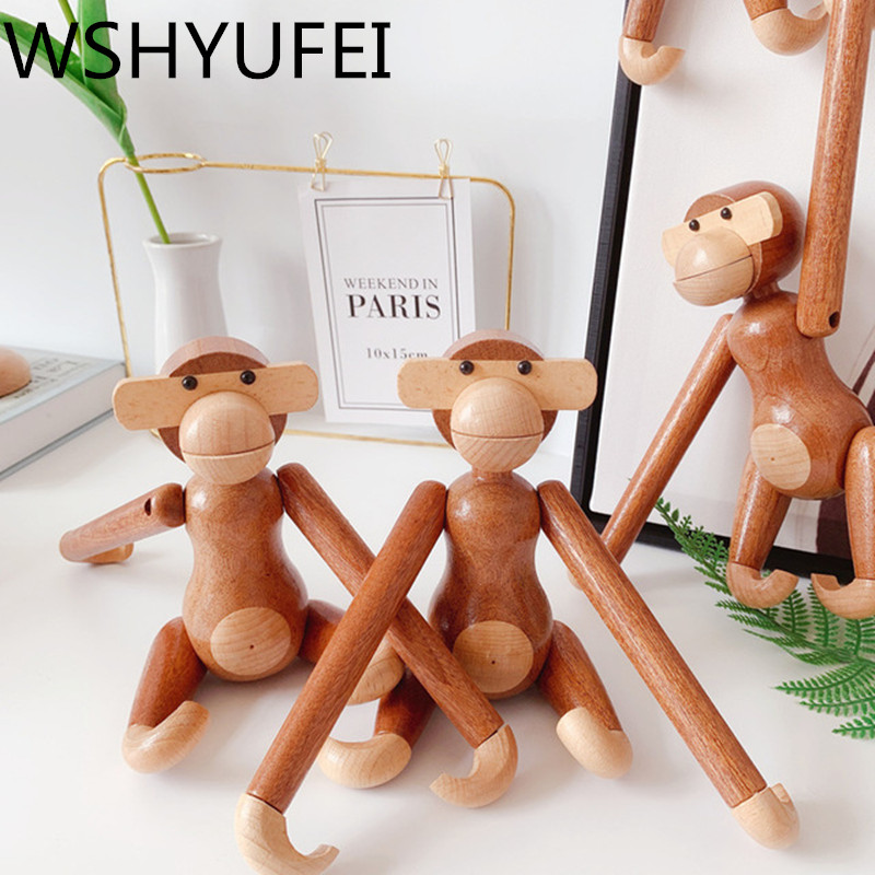 1Pcs primary color wooden crafts processing Danish teak monkey creative gifts novelty practical home decoration free shipping