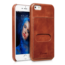 2017 Benuo Genuine Leather Back Cover Case For iPhone SE/iPhone 5S Case Mobile Phone Coque Fundas Luxury Vintage Red Brown