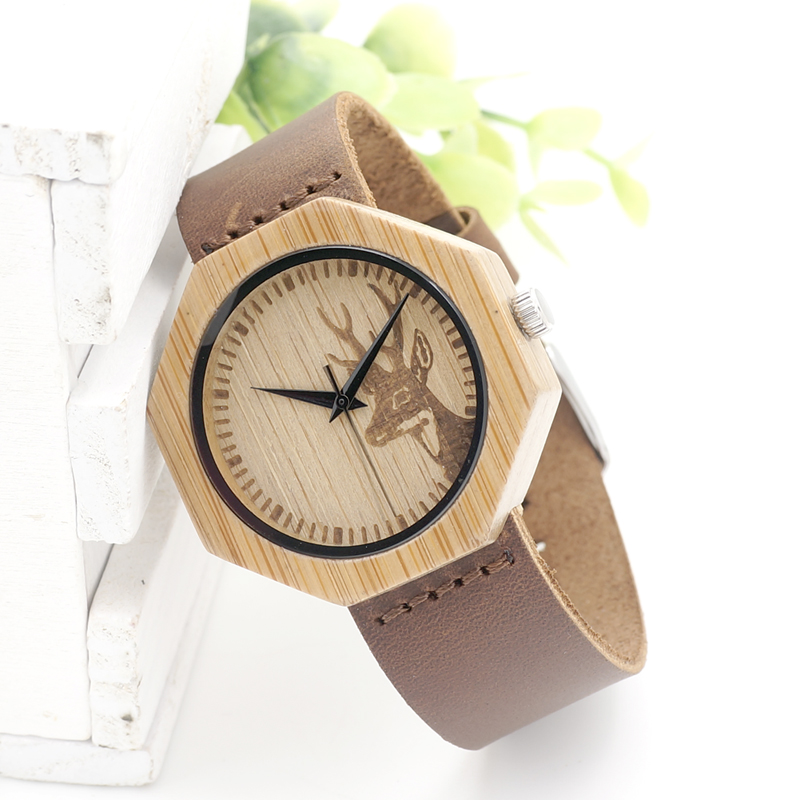 BOBO BIRD LA14 Simple Octagon Men Bamboo Watch Leather Band Casual Quartz Watch for Ladies OEM Dropshipping in Paper Gift Box bobo bird luxury bamboo wood men watch with engrave flower bamboo band quartz casual women watch full wooden watch in gift box