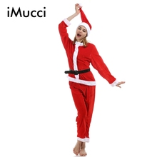 iMucci Red Women Girl Christmas Dress Long Sleeve Top Pants with Cape Cap Girls Santa Claus Costume Cloth Set New Year Dresses