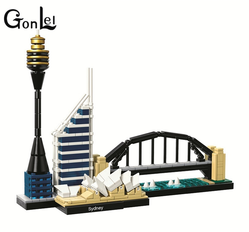 GonLeI BELA 10676 Architecture Sydney Skyline Building Blocks Sets City Bricks Classic Model Kids Toys Compatible Legoings gonlei 3117 city creator 3 in 1 vacation getaways building blocks bricks kids model toys marvel compatible with