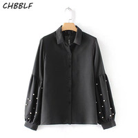 Spring Europe Pearls Blouse Ladies Lapel Shirt Lantern Sleeve Fashion Women S Black Shirts A8735