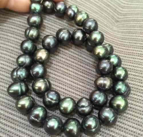 "18"" Gorgeous AAA 9-10mm natural tahitian black green baroque pearl necklace"