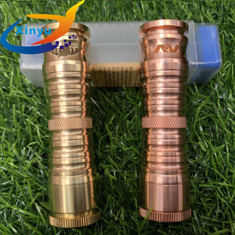 NEWEST Arrived AV DIPLOMAT MOD 18650 Electronic Battery Cigarette Brass Red copper 24mm Diameter Vaporizer Mech Mod For Atomizer