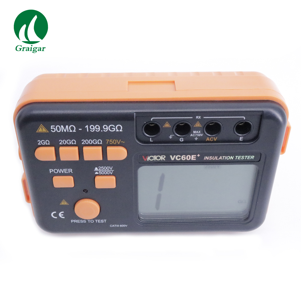 New Type Victor VC60E+ Digital Insulation Tester 50M~199.9G Ohm,2500V 5000V, Megger MegOhm Resistance Meter by Fast ShippingNew Type Victor VC60E+ Digital Insulation Tester 50M~199.9G Ohm,2500V 5000V, Megger MegOhm Resistance Meter by Fast Shipping
