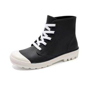 Image 5 - SWYIVY kobieta kalosze wysokie trampki jesień 2018 kobieta PVC moda Rainboots obuwie płaskie Lady Wellies kalosze 40