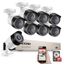 ZOSI HD TVI 8CH 1080P كاميرات أمنية نظام عدة مع 8*2.0 ميجابكسل يوم للرؤية الليلية CCTV كاميرا مراقبة للمنزل المراقبة بالفيديو
