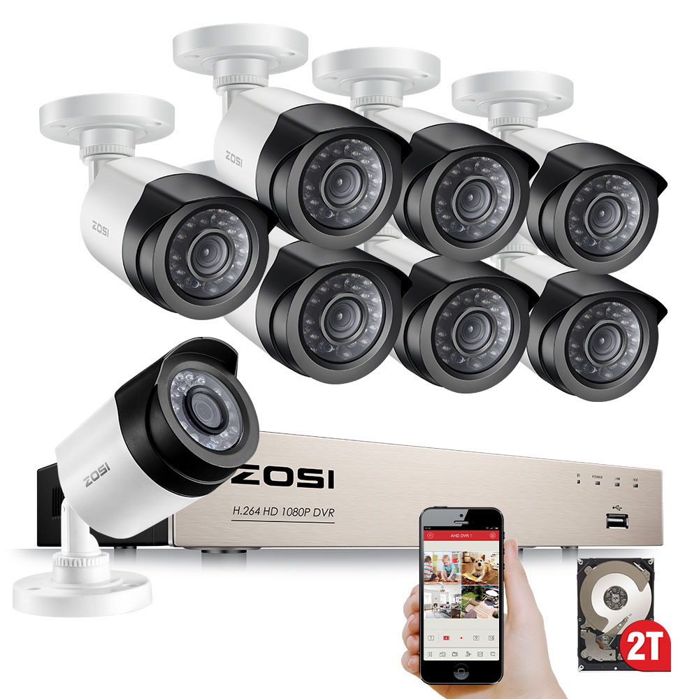 ZOSI HD-TVI 8CH 1080P bewakingscamera's Systeemkit met 8 * 2.0MP Dag Nachtzicht CCTV Home Security Camera Videobewaking