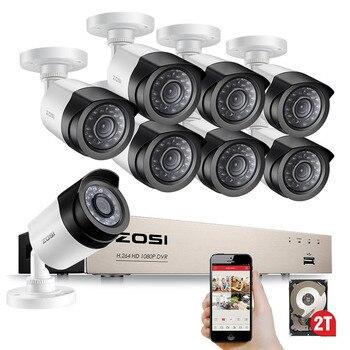ZOSI HD-TVI Cámaras de Seguridad Del Sistema 8CH 1080 P 2.0MP 8*1080 P 2000TVL Visión Día Noche CCTV Seguridad Para El Hogar 2 TB HDD