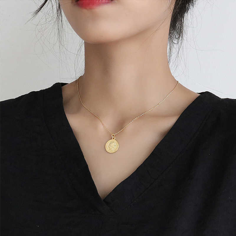 Stainless Steel Coin Necklace For Women Vintage Carved Gold Color Medallion Pendant Necklace Long Choker Boho Jewelry Collier
