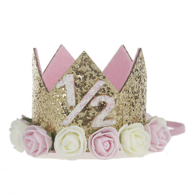 Online Shop 1st 2nd Birthday Hat 1 2 Crown Half Outfit Girl Glitter 6 Months Photo Prop